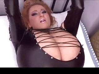 Vintage outfit Blonde milf huge natural tits leather outfit tied up