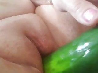 Veggie dildo My gf enjoying her veggies