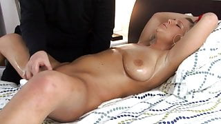 Teen with massive hanging tits tied and fingered, hard orgasm