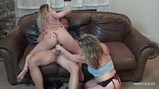 Blonde MILFs sucking and fucking in foursome swinger orgy