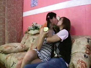 Apple teens Hungry russian brunette eats apple, bone