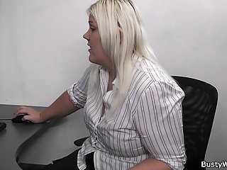 Busty wife checked out at work - Busty blonde lady at work getting banged