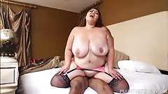 Busty Asian BBW Miss LingLing Takes on Some Big Black Cock