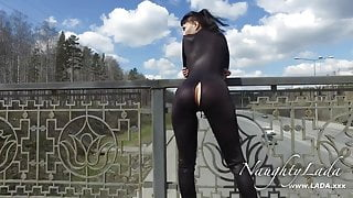 Walking around in the black outfit
