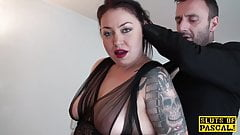 Brit sub slut Nikki Gold in stockings fucked