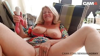 Big tits grandma toying