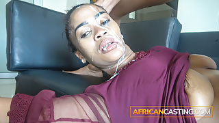 Casting With Ebony Slut, Ass and Face Fucked, Rough