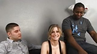 White guy watches as his wife gets her pussy fucked & face creamed by black guy