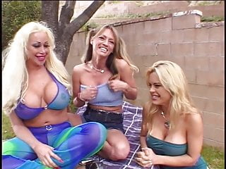 Group huge sex tit Blonde with huge tits has her pussy eaten in front lawn by lesbian friends