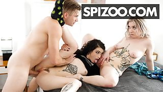 Hardcore Threesome With Tattooed Babes