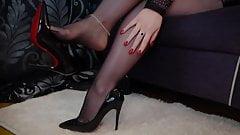 Sexy nylon feet dangle with my stiletto pumps