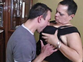 Grandma fucks young studs - Big grandma gets seduced by young stud