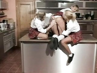 Lesbian bondage strip tease - Schoolgirls are teasing, stripping and playing.