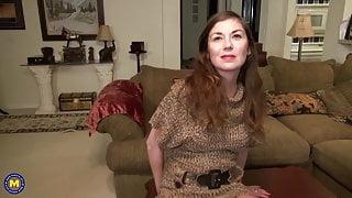 Real step mom fucks hairy pussy on carpet