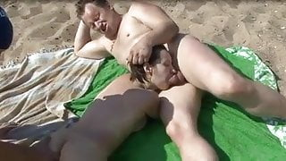 Nude Beach - Sucking and Fingering MMF Threesome