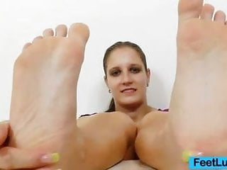 Young brunette footjobs Footjob from a young brunette