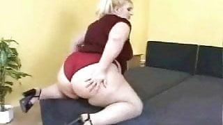 BBW Blonde in red