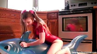 Megan Shiny Red Spandex Inflatable Toy Masturbation