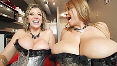 Samantha 38G and Sara Jay - Foursome in Silver Corsets
