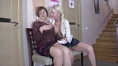 Young blonde seduces mature woman