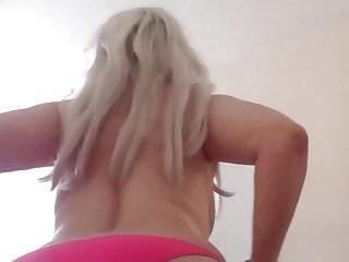 Pink bikini babe - Topless blonde pink bikini singer