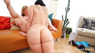 Strap-On Sex With Wet Thick Roomies Sara Jay And Ryan Smiles!