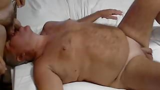 grandpa and young play on webcam