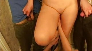 Step Mom & many guys have a sex at kitchen