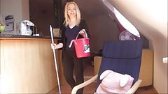 The blonde teen cleaning lady is fucked