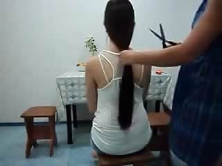 Cutting dick off Sexy girl gets her long pony tail cut off