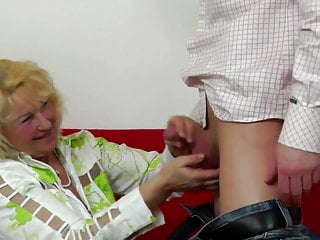 Sex with old lady and boy - Old lady suck and fuck young boys cock