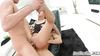 Ass Traffic Nympho double fucked ass to mouth and cum swallo