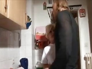 Long fuck in kitchen - Blonde mom and not her son amateur fuck in kitchen homemade