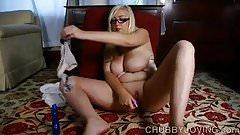 Busty blonde BBW beauty fucks her fat juicy pussy 4 U