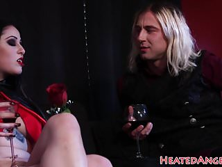 Huge pierced tits - Goth vampire babe rides on a huge cock