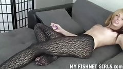 I can see by your hard cock you like my fishnets JOI