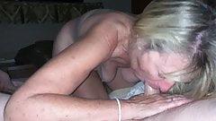 Saggy tits granny gives blowjob