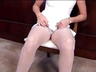 Upskirt meg - Meg fingering in white pantyhose