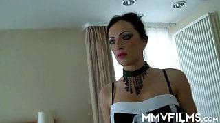 Superb brunette maid drinking sperm