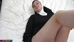 Horny nun gets cock up her ass