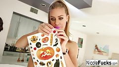 Nicole Aniston plays with Halloween stickers then her wet