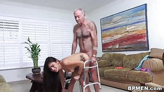 Kinky old man licks and fucks lovely Michelle Martinez