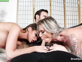 Blondes brunettes sucking cock Super hot brooklyn and brooke take turns sucking cock