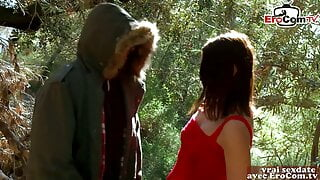 French petite brunette amateur teen fuck in forest