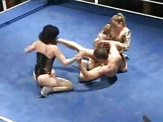 Nude women fights One man fights two women