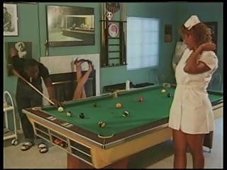 Black sexy nurse Sexy black nurse hooker fucks bbc on the pool table