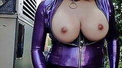 Rachel Cums in Purple Latex