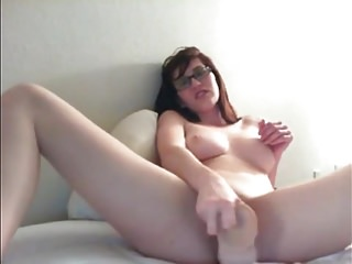 Hot girls takeing dildos anal Hot brunette nerd takes on large dildo and cums