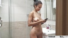 Gorgeous courtesan showers before doggystyled