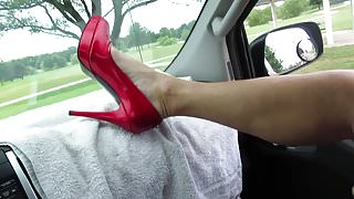 f  MY RED Stuart Weitzmans and talking naughty